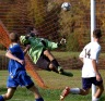 By the smallest of margins, a season can slip away. Just ask Springfield goalkeeper Dave Sousa as he watches this shot from Wissahickon's Pat Magdalinski, right, fly in. (Special to the Times/Bob Rains)