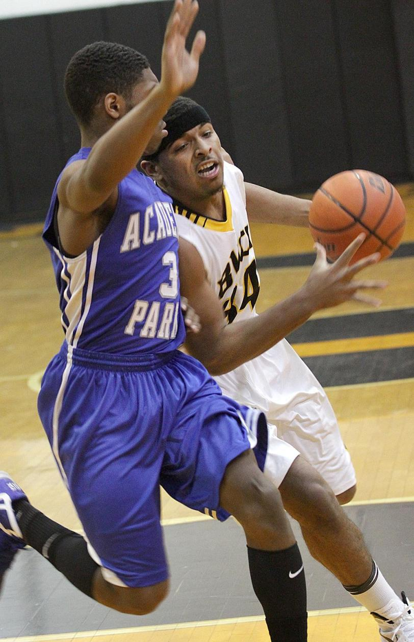 Interboro's Christian Irons returned to the lineup against Jeff DeVaughn and Academy Park, but a buzzer-beating 3-ball from Travis Smith gave the Knights a 59-57 Del Val League win over the Bucs. TIMES STAFF/ROBERT J. GURECKI