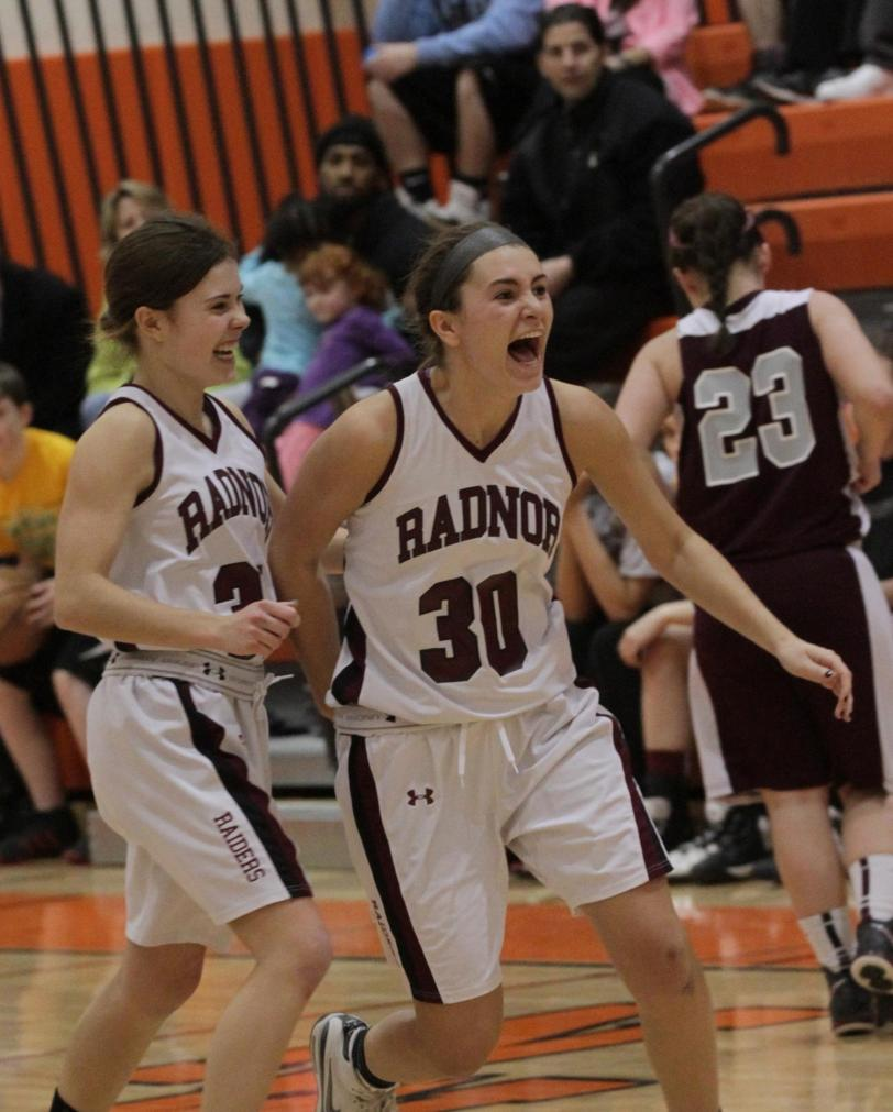Shannon Quinn, left, and Kyla Crombie helped Radnor make history with a 47-39 win over Conestoga for the first Central League title in school history. TIMES STAFF/ROBERT  J. GURECKI