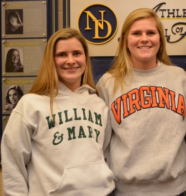 Katie Roe and two-time All-Delco Emily Faught are Division I-bound. PHOTO COURTESY OF THE ACADEMY OF NOTRE DAME