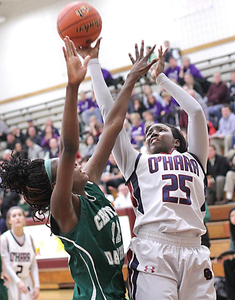 Shanice Johnson, right, paced Cardinal O'Hara in a rout of Central Dauphin in the PIAA quarterfinals.TIMES STAFF/ROBERT J. GURECKI