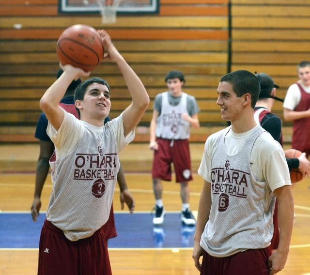 Cardinal O'Hara's next basketball coach won't have Mike Louden, right, but will get the chance to coach 3-point specialist Andrew Louden. TIMES STAFF/JULIA WILKINSON