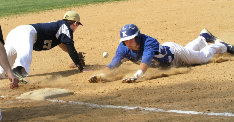 Kennett's Joe Zirolli, right, slides safely into third base ahead of Sun Valley third baseman Tyler Hastings Wednesday in Kennett's 12-3 win. (Times Staff / ROBERT J. GURECKI)