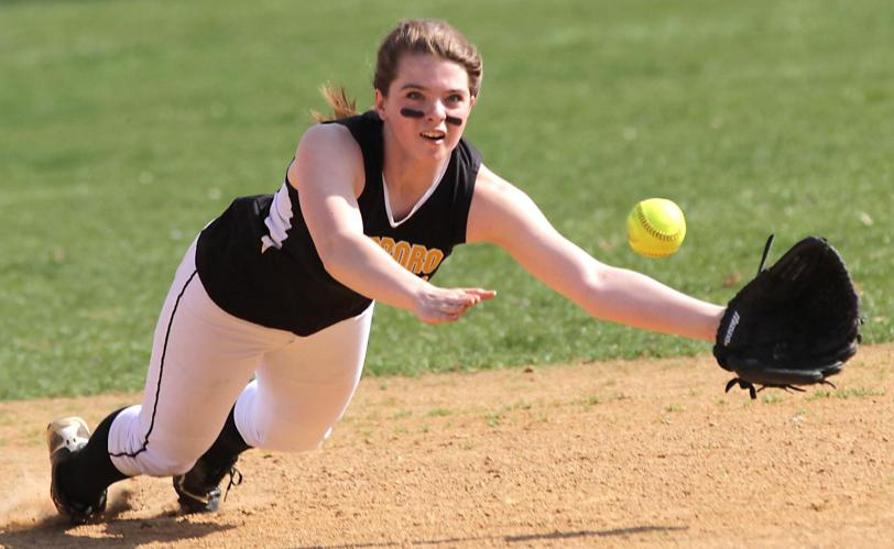Interboro's Miranda Baylor barely missed this line drive, but she and the Bucs scored a 4-3 win over rival Chichester.TIMES STAFF/ROBERT J. GURECKI