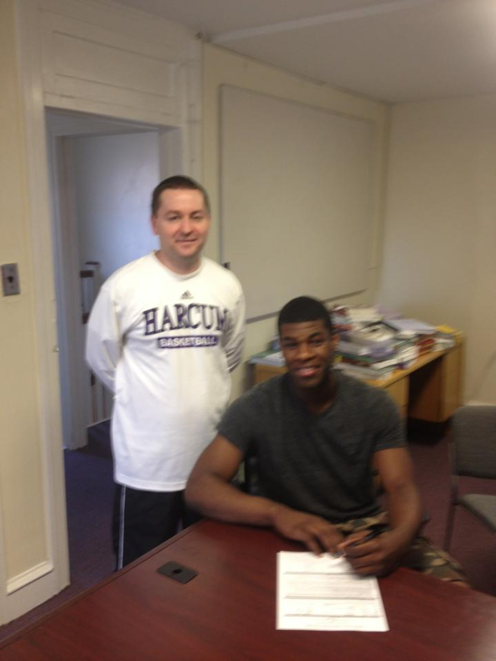 Ridley 2012 All-Delco Shawn Church, right, signed to play at Harcum College.  PHOTO COURTESY OF KEITH HEINERICHS.