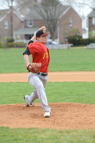Haverford pitcher Alex Barr, here delivering during his five-inning no-hitter against Lower Merion Monday, has led a resurgent Fords squad. (Courtesy of Paul Bogosian)
