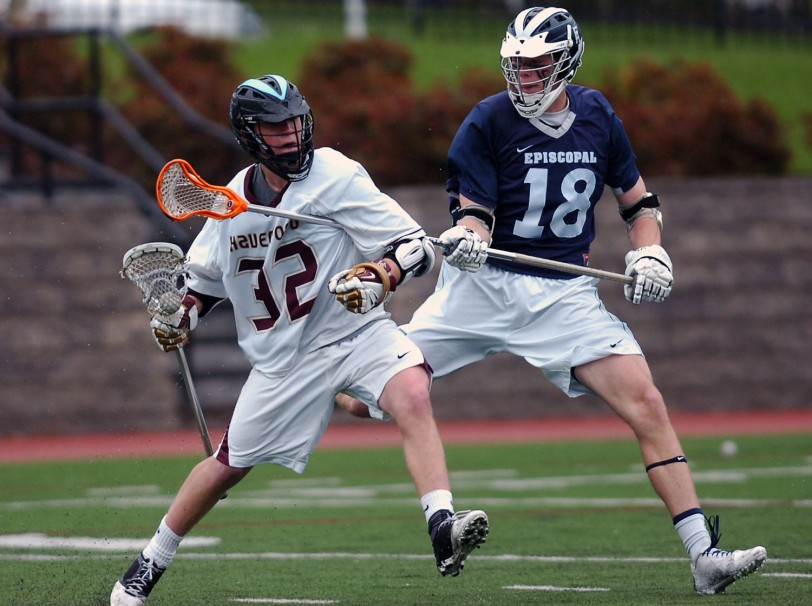 In the battle for Delco supremacy, it was All-Delco Kevin Gayhardt, right, and Episcopal Academy taking out Gavin McBride and The Haverford School in overtime.  TIMES STAFF/JULIA WILKINSON