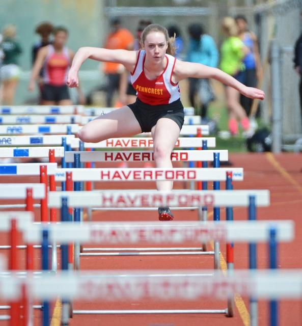 Penncrest's Olivia Graham, who ran the second leg of the shuttle hurdles relay, helped the Lions to a win in the event.  TIMES STAFF/ERIC HARTLINE