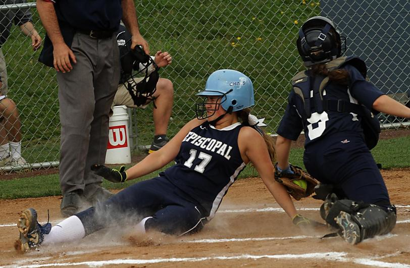Episcopal Academy's Taylor Long slides in before the tag in the Churchmen's 10-0 rout of Baldwin.  TIMES STAFF/ROBERT J. GURECKI