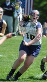 Notre Dame's Nora McCallion, seen here as a junior, had 11 points in a 24-14 rout of Merion Mercy. PHOTO COURTESY OF PHILLYLACROSSE.COM