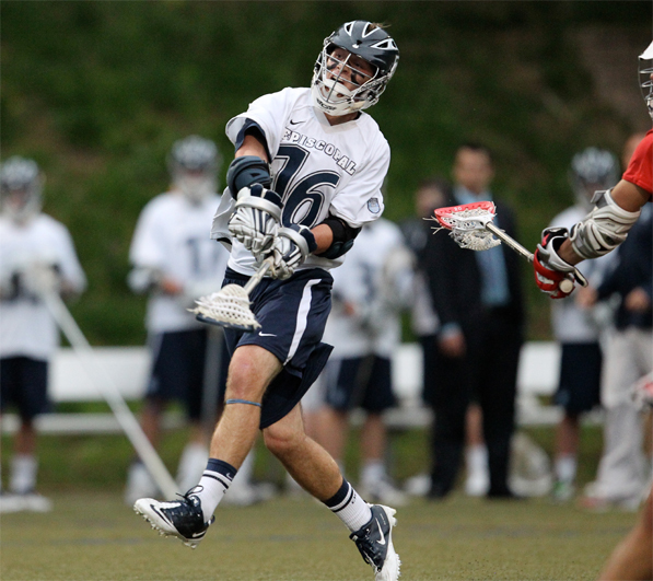 Episcopal Academy midfielder Ian Strain, seen here as a junior, and the Churchmen are back atop the Super 7. PHOTO COURTESY OF PHILLYLACROSSE.COM