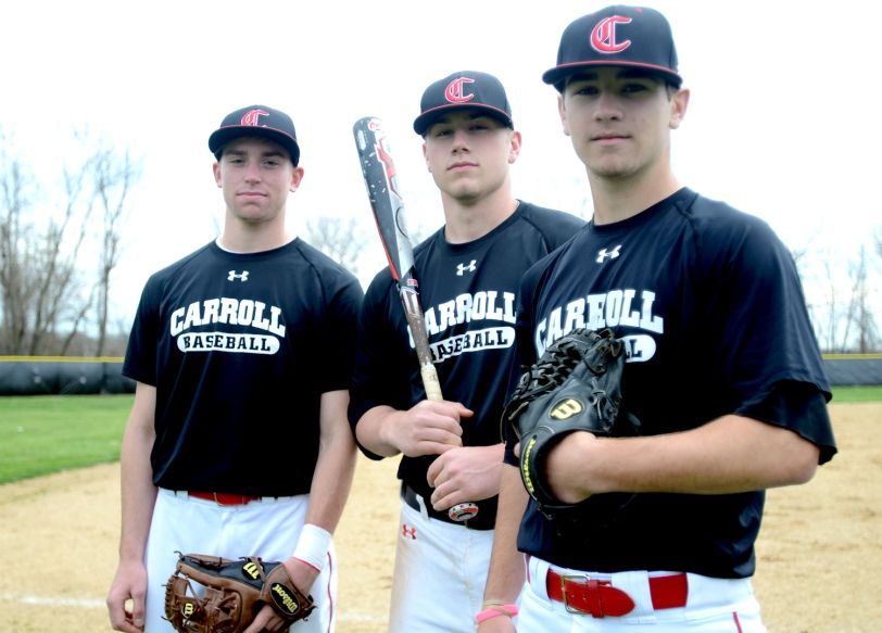 Seniors Eric McGough, left, and Evan Harvey may be graduating, but Matt Lafferty, right, will return to lead a pitching-heavy Carroll team next year. (Times Staff / JULIA WILKINSON)
