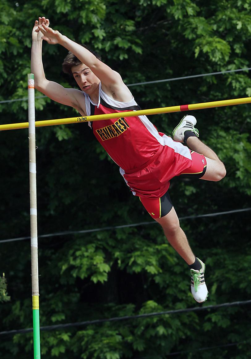 Penncrest's Peter Coote clears 13 feet to claim the pole vault at the Central League Championships.  TIMES STAFF/ROBERT J. GURECKI