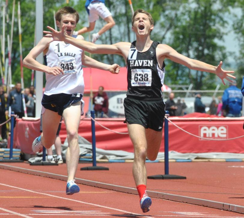 Strath Haven's Jack Huemmler is fairly happy that he won the PIAA 1,600-meter title.  SPECIAL TO THE TIMES/BARRY TAGLIEBER