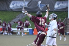 Connor Keating celebrates after his goal 11 seconds into Monday's 9-8 win over Episcopal Academy in the Inter-Ac Invitational semifinal.  PHOTO COURTESY OF LISA AMENT