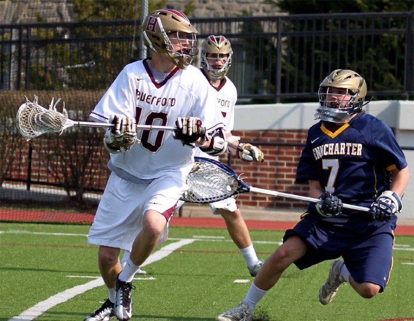 The Haverford School's Kip Taviano, left, seen here in a game earlier this season, was killed Tuesday in a car accident.  PHOTO COURTESY OF PHILLYLACROSSE.COM