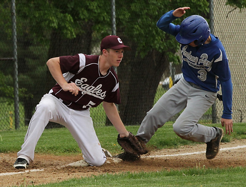 Academy Park sophomore Chris Calabro, here being tagged out by Chichester's Danny Murray, is among the most notable holdovers from this year's districts-qualifying team. (Times Staff / ROBERT J. GURECKI)