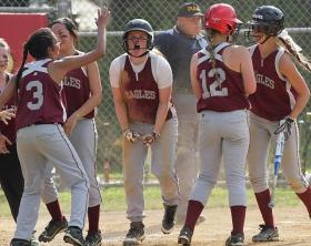 Sarah Murray, center, and her Chichester teammates enjoyed an improbable postseason run that included a trip to the state tournament.  (Times staff / ROBERT J. GURECKI)
