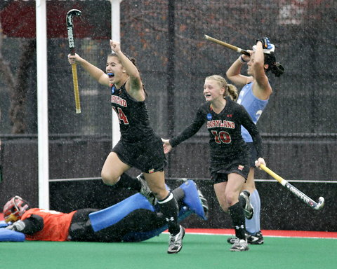 Maryland forward Katie Gerzabek, left, seen here in the 2011 national title game, was named to the U.S. Junior World Cup team. PHOTO COURTESY OF THE ASSOCIATED PRESS