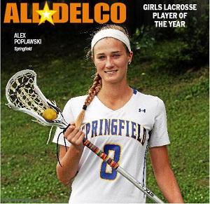 Springfield's Alex Poplawski is the 2013 Daily Times Girls Lacrosse Player of the Year. TIMES STAFF/ROBERT J. GURECKI