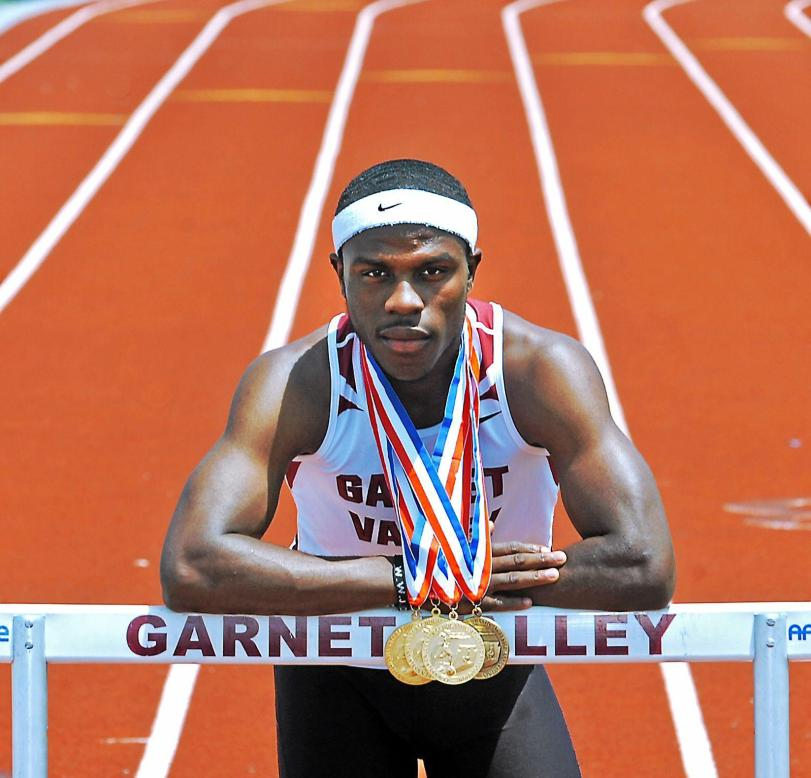Wellington Zaza became the first athlete to win both hurdles and the triple jump in the PIAA Championships. (Times staff / ERIC HARTLINE)
