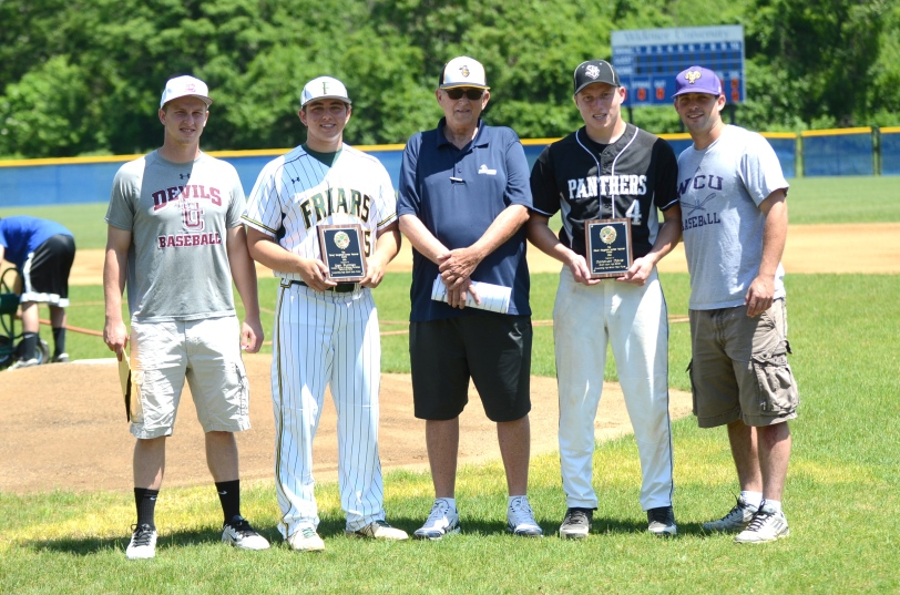 The players honored as pitchers of the year at the Joseph Barrett Memorial Game, Bonner-Prendergast's Dan Furman (second from left) and Strath Haven's Donovan Davis (second from right) both grew up playing in Media Little League. (Courtesy of Paul Bogosian)