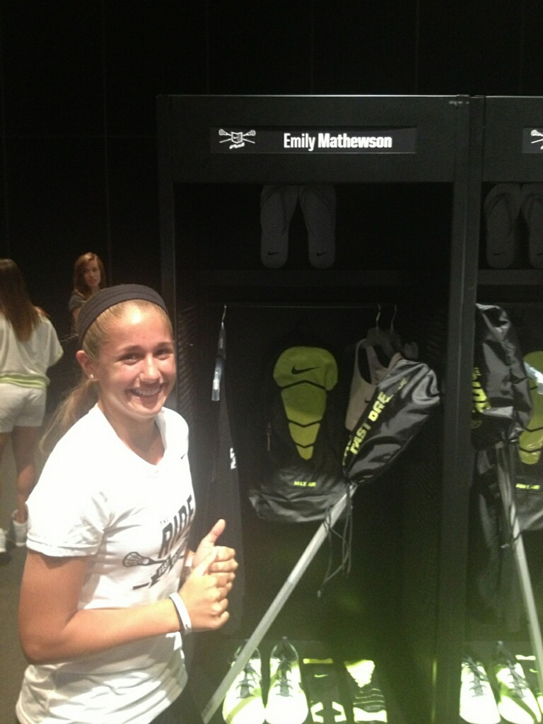 Garnet Valley 2016 attacker Emily Mathewson shows off her locker at Nike's The Ride. PHOTO COURTESY OF EMILY MATHEWSON