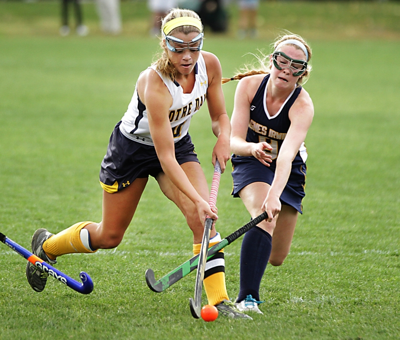 Notre Dame's Moira Putsch became the first Delco member of the 100-goal club.  TIMES STAFF/ROBERT J. GURECKI