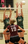 Garnet Valley's Brianna Plush (19) finished a perfect run through the Central League regular season with a 3-1 win over Carlee Herrin, left, and Molly Murtha. TIMES STAFF/ROBERT J. GURECKI