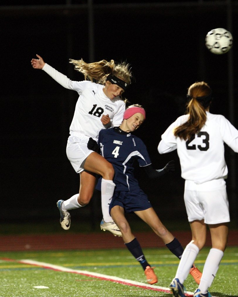 Strath Haven's Ami Ianello gets vertical to head the overtime winner home in a 1-0 win over Unionville. SUBMITTED PHOTO/BILL CAREY