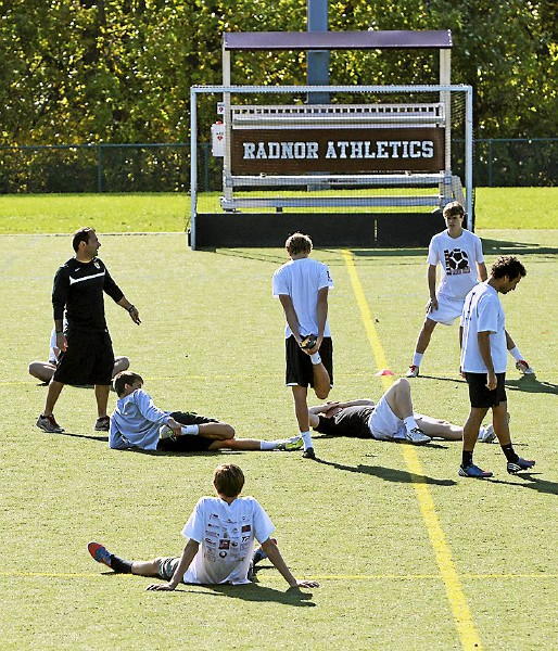 Radnor Boys Soccer coach Joe Caruolo talks to his team in preparation for the District One tournament,  TIMES STAFF/ERIC HARTLINE)