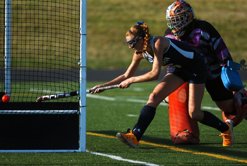 Jess Randazzo tips in a goal during Cardinal O'Hara field hockey's 9-0 rout of Bonner-Prendergast Wednesday. TIMES STAFF/JULIA WILKINSON