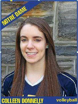 Notre Dame middle blocker Colleen Donnelly headlines the All-Inter-Ac team.  PHOTO COURTESY OF THE MAIN LINE TIMES