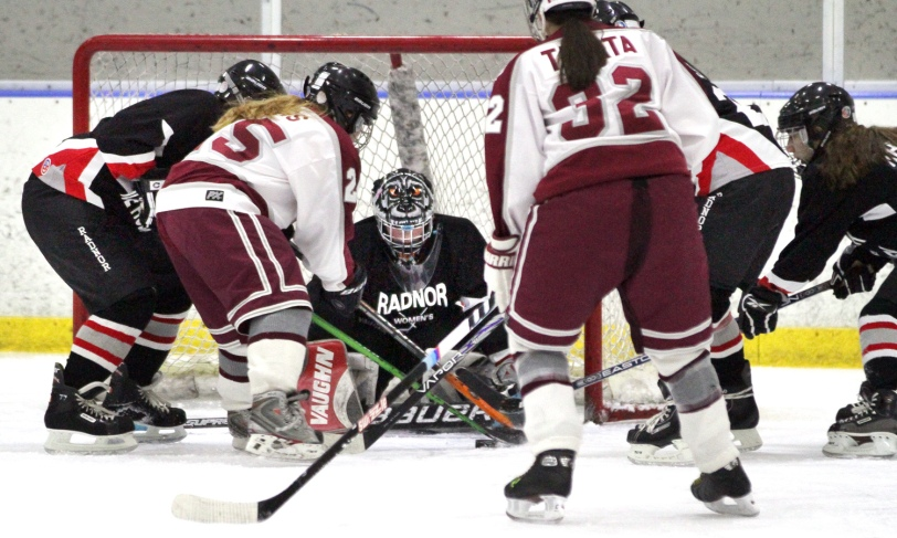 Radnor goalie Tessa Landry, had a busy night, making 32 saves in a 10-0 loss to Conestoga. (Times Staff/ROBERT J. GURECKI)