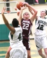 Garnet Valley's Haley Warden, center, goes up for a shot over Ridley's Isabella Hamlin, left, and MaryKate Rumbaugh, right. (Times Staff/ROBERT J. GURECKI)