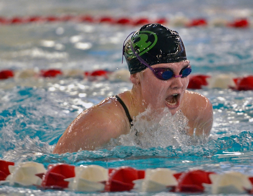 Gab Rudy, Ridley's fast freshman, in her record-setting 200 IM Saturday. (Times Staff/ERIC HARTLINE)