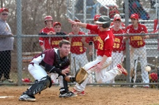 Penncrest's Nate Sides scores on Tyler Kight's sixth-inning sacrifice fly ahead of Garnet Valley catcher Jeff Shanfeldt Wednesday. (Times Staff / JULIA WILKINSON )