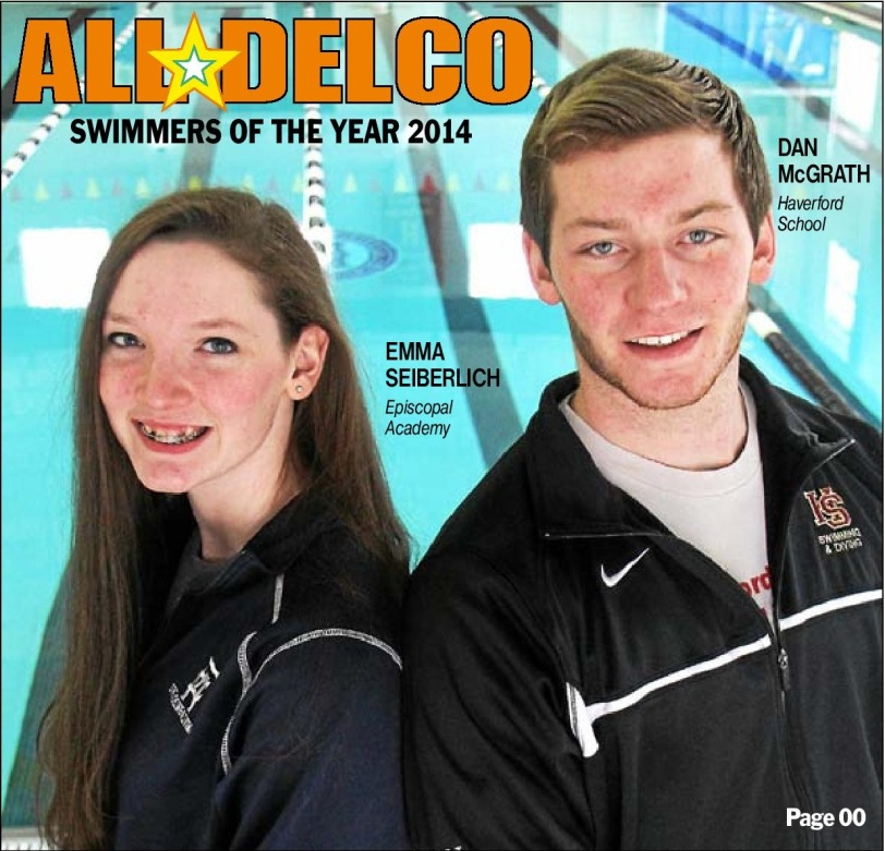 2013-14 Daily Times Swimmers of the Year Emma Seiberlich and Dan McGrath. (Times Staff/ROBERT J. GURECKI)