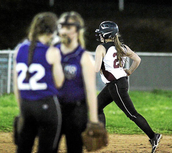 Garnet Valley third baseman Shannon Moore trots around the bases after a home run off Upper Darby's Erin Redden Monday night. Moore and the Jaguars are ranked No. 7  this week.