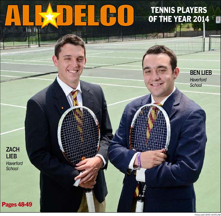 Haverford School's Ben and Zach Lieb are the 2014 Boys Tennis Players of the Year. (Times Staff/ERIC HARTLINE)