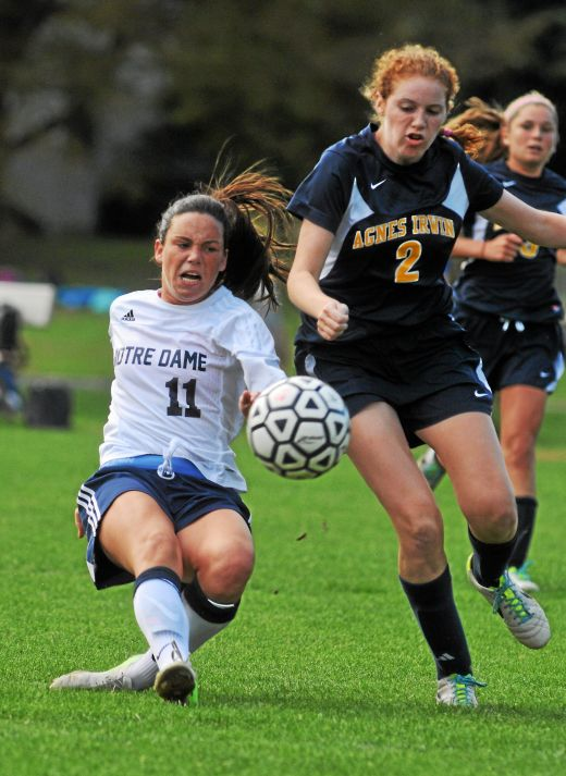 Notre Dame's Phoebe McClernon, left, hopes to continue her prolific scoring this season. (Times File)
