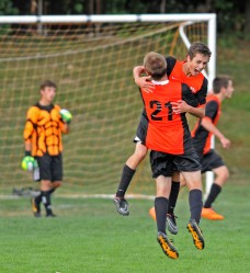 If the season ended today, Marple Newtown would make the District One playoffs, which could lead to some celebrating like this from Dominic Pezzotti, right, and Hunter Dyson. (Times staff / TOM KELLY IV)