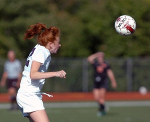 Garnet Valley's Jackie Sever, here heading a ball against Marple Newtown, and fellow defender Taylor Buckley were named to the All-Central first team. (Times staff / JULIA WILKINSON)