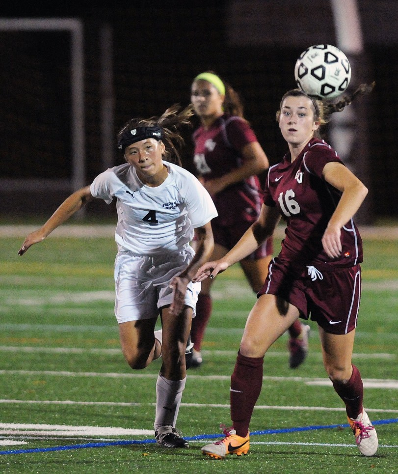 Strath Haven's Claire Van Duyne, here defending Garnet Valley's Britney Dragoni Oct. 14, epitomized the Panthers season: A sophomore with great potential who battled through injuries to contribute and promises to grow in ability next season. (Times Staff/TOM KELLY IV)