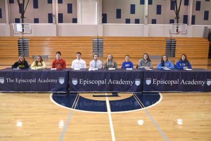 Ten Episcopal Academy student-athletes signed with Division I schools on Nov. 12. Seated (left to right): Lily Crager (University of Michigan), Jane Crager (University of Michigan), Curtis Zappala (University of Maryland), Chris Friedman (University of Hartford), Colin Reder, (University of North Carolina), Genevieve McCormick (Army), Josh Owsiany (Duke University), Maria Kilcullen (Loyola-Md.), Ali Rushton (University of North Carolina), and Christy Palazzese, (Duke University).