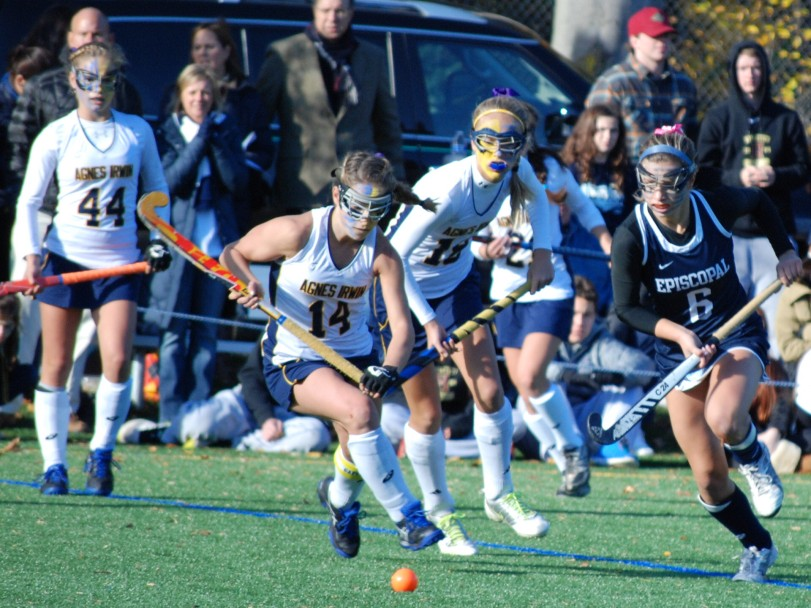Three of the main combatants in this Agnes Irwin-Episcopal Academy rivalry tilt -- Owls Julianna Tornetta, far left, and Sophia Tornetta, center, and EA's Margaux Paolino -- were named all-region by the NFHCA last week. (Special to the Times/Ryan Richards)