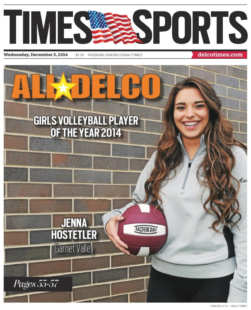 Garnet Valley's Jenna Hostetler is the 2014 Daily Times Volleyball Player of the Year. (Times Staff/TOM KELLY IV)