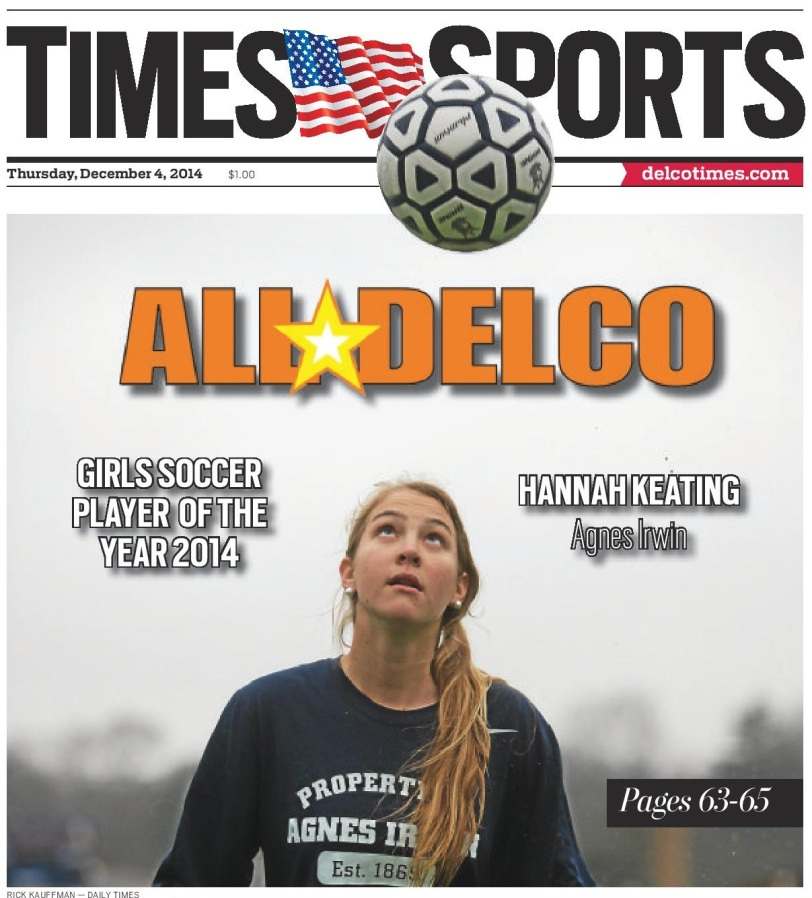 Agnes Irwin midfielder Hannah Keating is the 2014 Girls Soccer Player of the Year. (Times Staff/Rick Kauffman)