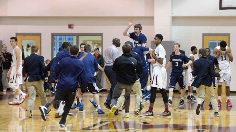 Conner Delaney, center, being hoisted by his Episcopal Academy teammates after his game-winning 3-pointer against Haverford School last week, has powered the Churchmen to the top of the Inter-Ac ... and up this week's rankings. (Times Staff/TOM KELLY IV)