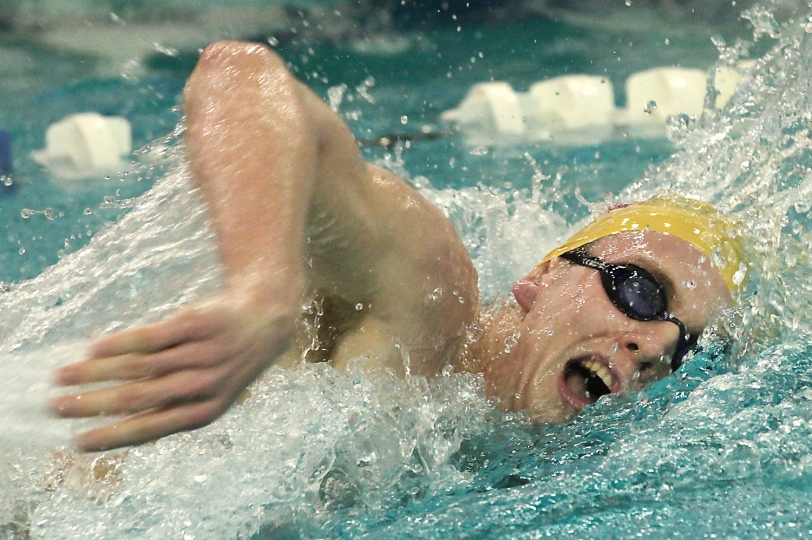Matt Haigh has led his Haverford School squad to the top of the Delco boys swimming heap. (Times Staff/ROBERT J. GURECKI)